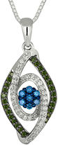 FINE JEWELRY 3/8 CT. T.W. White, Green & Blue Diamond 10K White Gold Pendant