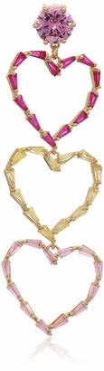 Betsey Johnson GBG) Women's CZ Stone Delicate Open Heart Triple Drop Earrings