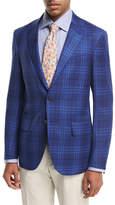 Isaia Sanita Plaid Super 140s Wool Two-Button Sport Coat, Blue