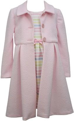Bonnie Jean Girls 4-6x Textured Coat & Pleated Dress Set