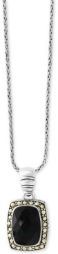 Effy Eclipse by Onyx (14 x 10mm) Pendant Necklace in Sterling Silver & 18k Gold