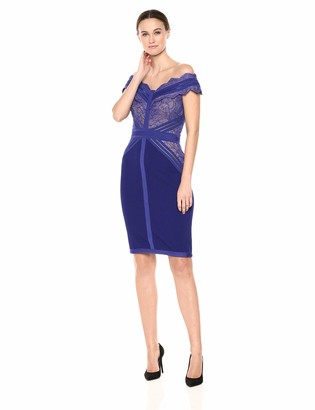 Tadashi Shoji Women's Off Shldr lace and Crepe Dress