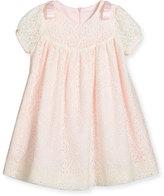 Luli & Me Cap-Sleeve Shirred Lace Swing Dress, Ivory, Size 3-18 Months