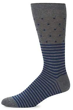 Marcoliani Milano Men's Mid-Calf Contrast Stripes & Dots Cotton Socks
