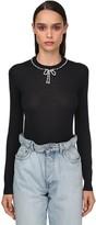 Miu Miu Knit Crewneck W/faux Pearls Collar