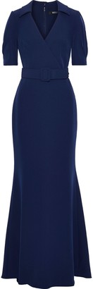 Badgley Mischka Wrap-effect Belted Stretch-cady Gown