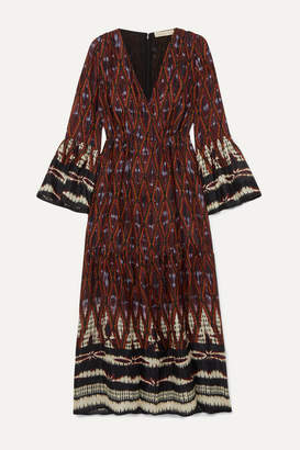 Vanessa Bruno Melissandre Tiered Printed Crepe De Chine Midi Dress - Burgundy