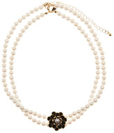 Natasha Accessories 2-Row Faux Pearl & Flower Necklace