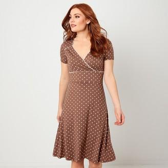 Joe Browns Polka Dot Knee-Length Dress with Wrapover Neck and Short Sleeves
