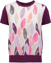 Raoul Printed silk-crepe and stretch-jersey top