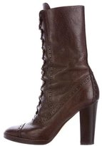 Michael Kors Leather Lace-Up Boots