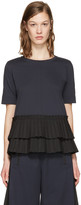 Marni Navy Frilled Hem T-Shirt