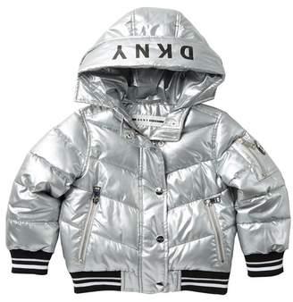 DKNY Rib Bottom Puffer Jacket (Little Girls)