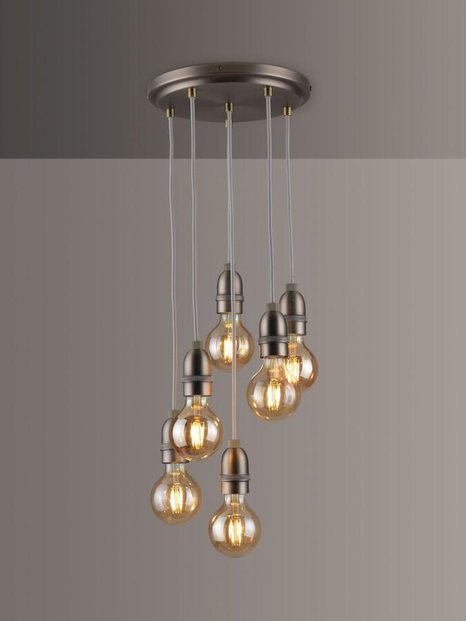 John Lewis & Partners Bistro 6 Pendant Cluster Ceiling Light, Antique Pewter