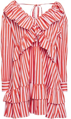 MSGM Ruffle-trimmed Striped Cotton-blend Poplin Mini Dress