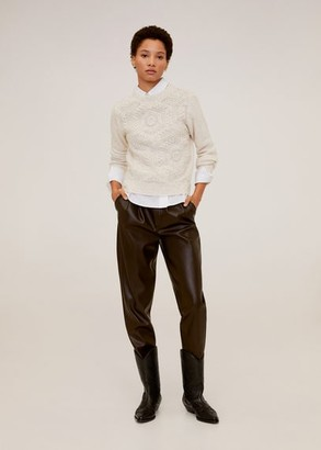 MANGO Openwork knit sweater light/pastel grey - S - Women