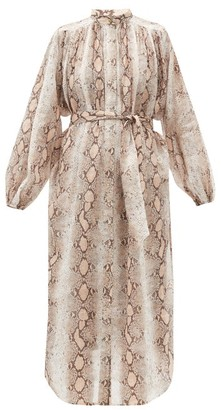 Zimmermann Bellitude Snake-print Ramie Dress - Beige Print