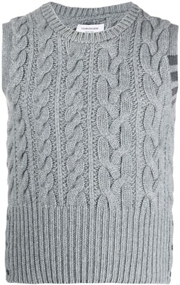 Thom Browne cashmere 4-Bar Stripe aran knit vest