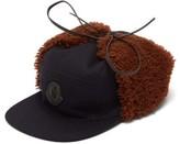 Moncler Shearling-trimmed Wool-blend Cap - Mens - Black Multi