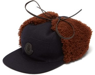 Moncler Shearling-trimmed Wool-blend Cap - Mens - Black Multi