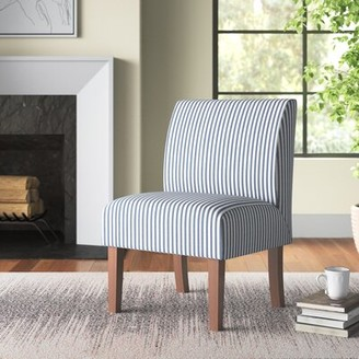 Three Posts Daleyza Slipper Chair Fabric: Blue Stripe 100% Polyester