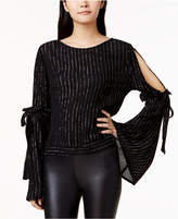 Bar III Metallic-Striped Cold-Shoulder Top, Created for Macy's