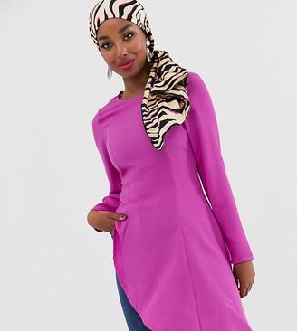 Verona asymmetric long sleeve top in lilac