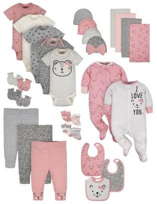 Gerber Baby Girls Organic Newborn Clothes Shower Gift Set, 29-Piece
