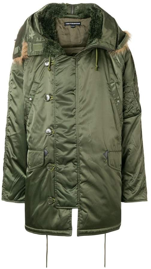 Gosha Rubchinskiy faux-fur hooded parka coat