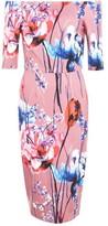 Little Mistress Elva Floral Bardot Midi Dress