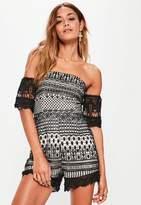 Black Lace Bardot Playsuit, Black