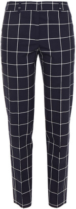 Paul Smith Textured Checked Wool And Cotton-blend Tapered Pants