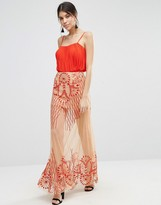 Asos Maxi Skirt With Sheer Illusion Embroidery