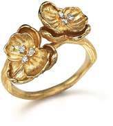 Michael Aram 18K Yellow Gold Small Double Orchid Ring with Diamonds