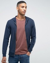 Asos Lightweight Jersey Muscle Zip-Up Hoodie In Navy