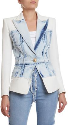Balmain Denim & Crepe Blazer Jacket