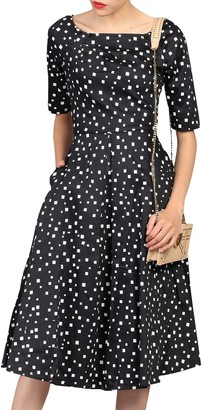 Jolie Moi Half Sleeve Scoop Neck Swing Dress, Black Pattern