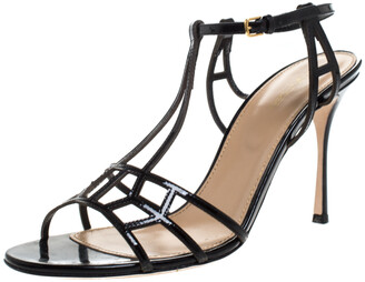 Sergio Rossi Black Strappy Leather Cubic Ankle Strap Sandals Size 40