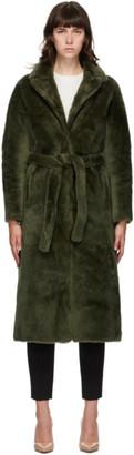 Yves Salomon Green Fur Coat