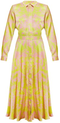 Undress Amanda Floral Printed Pastel Pink Lemon Green Midi Shirt Dress