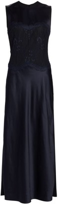 Marina Moscone Lace-Trimmed Satin Midi Dress