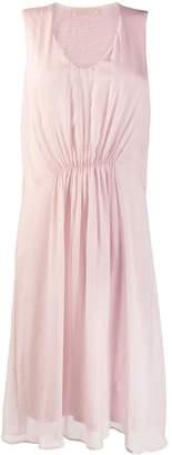 120% Lino ruched sleeveless midi dress