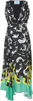 Prada Draped Printed Crepe De Chine Midi Dress