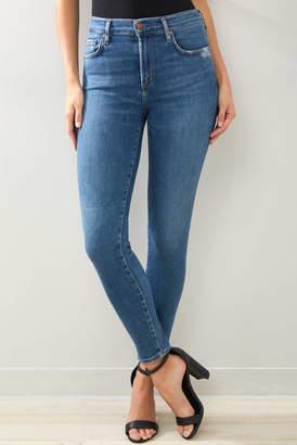 A Gold E Agolde AGOLDE Sophie Skinny Ankle Jean in Tame Medium Denim 24