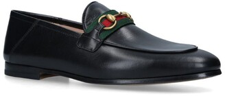 Gucci Leather Brixton Web Loafers