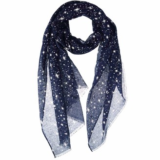 Satinior Silver Glitters Shimmer Foil Stars Women Scarf Shawl Wrap With Snowflake Scarves Clip