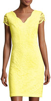 Donna Ricco Floral-Lace Sheath Dress, Yellow