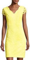 Donna Ricco Floral-Lace Sheath Dress, Yellow