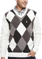 USPA U.S. Polo Assn. Long-Sleeve Argyle V-Neck Sweater