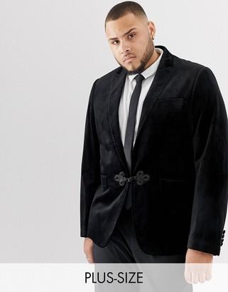 Gianni Feraud Plus premium skinny fit velvet satin lapel blazer